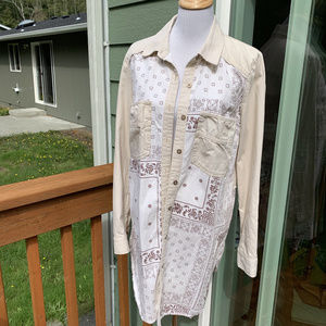 FREE PEOPLE IVORY DENIM BANDANA DENIM JACKET L